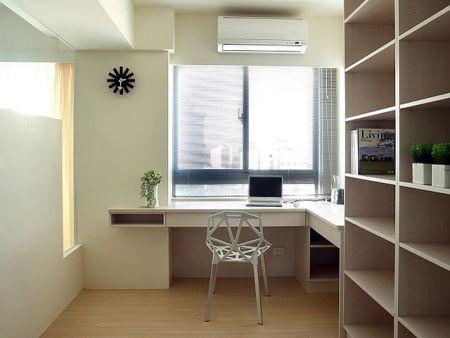 书桌书柜设计图装修效果图   书房书桌书柜设计图   靠窗边书